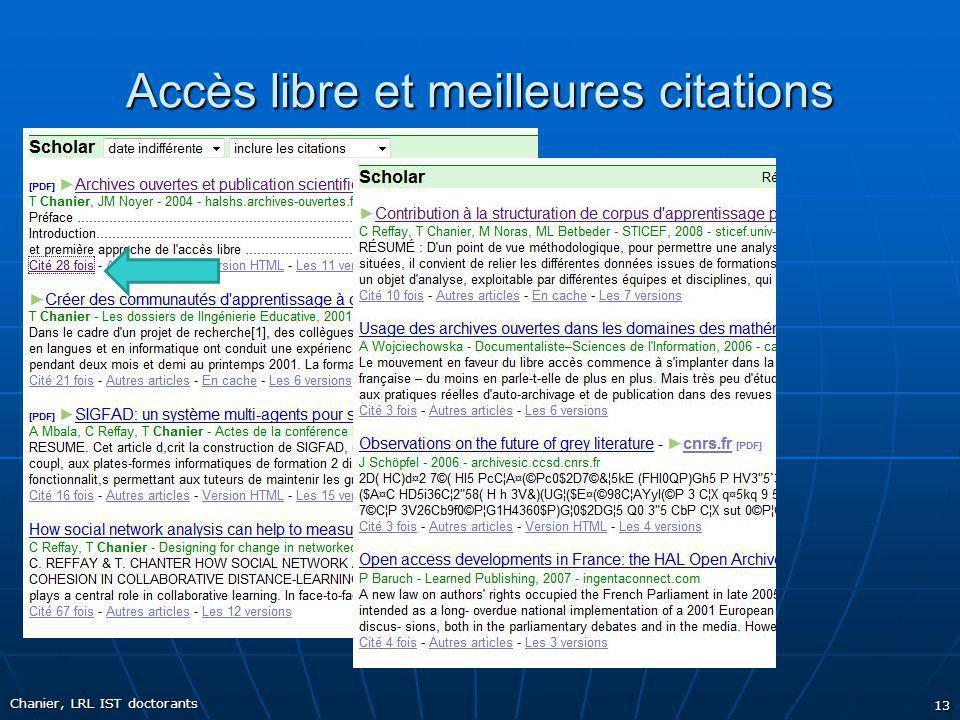 Accès libre et meilleures citations Chanier, LRL IST doctorants 13