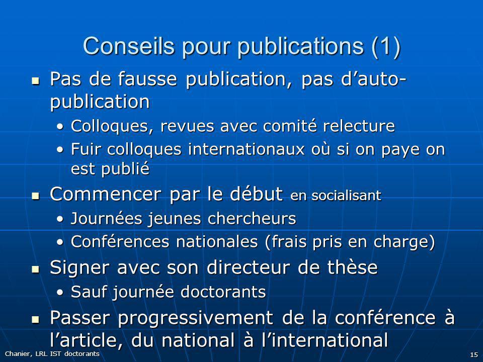 Conseils pour publications (1) Pas de fausse publication, pas dauto- publication Pas de fausse publication, pas dauto- publication Colloques, revues a