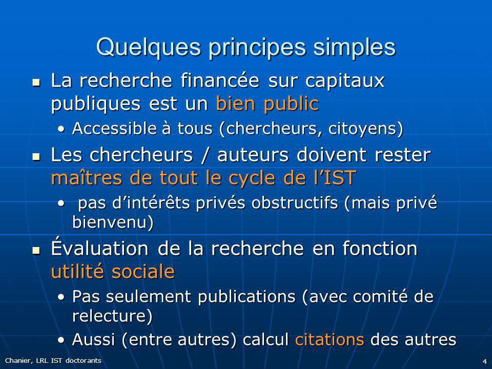 Quelques principes simples La recherche financée sur capitaux publiques est un bien public La recherche financée sur capitaux publiques est un bien pu