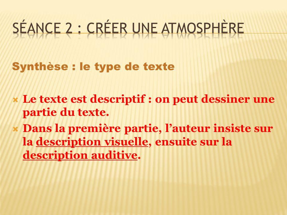 Synthèse : le type de texte Le texte est descriptif : on peut dessiner une partie du texte. Dans la première partie, lauteur insiste sur la descriptio