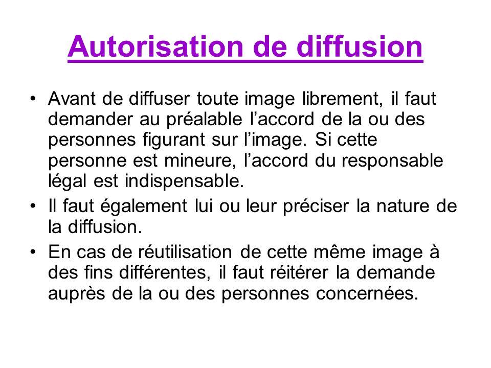 Autorisation de diffusion Avant de diffuser toute image librement, il faut demander au préalable laccord de la ou des personnes figurant sur limage.