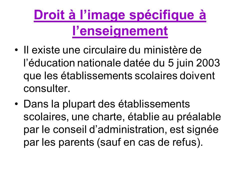 Droit à limage spécifique à lenseignement Il existe une circulaire du ministère de léducation nationale datée du 5 juin 2003 que les établissements scolaires doivent consulter.