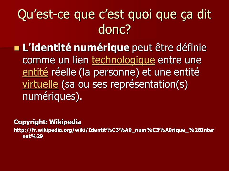 Quest-ce que cest quoi que ça dit donc? L'identité numérique peut être définie comme un lien technologique entre une entité réelle (la personne) et un