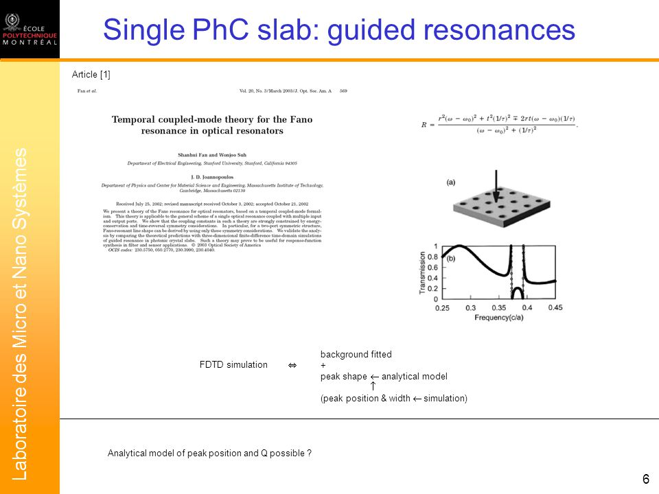Laboratoire des Micro et Nano Systèmes 6 background fitted + peak shape analytical model (peak position & width simulation) FDTD simulation Article [1] Single PhC slab: guided resonances Analytical model of peak position and Q possible