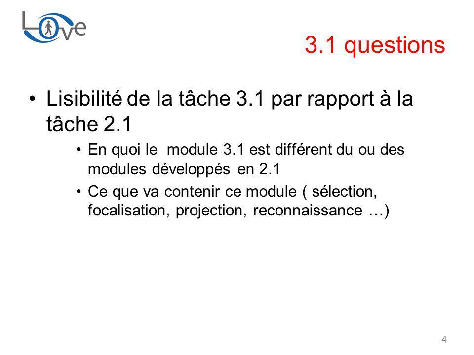 4 3.1 questions Lisibilité de la tâche 3.1 par rapport à la tâche 2.1 En quoi le module 3.1 est différent du ou des modules développés en 2.1 Ce que va contenir ce module ( sélection, focalisation, projection, reconnaissance …)
