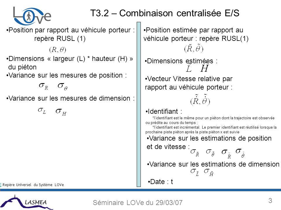 14 Séminaire LOVe du 29/03/07 EKF vs PF T3.2 – Combinaison décentralisée – Fusion des estimations