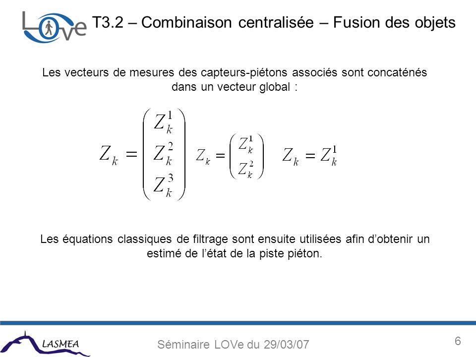 6 Séminaire LOVe du 29/03/07 T3.2 – Combinaison centralisée – Fusion des objets Les vecteurs de mesures des capteurs-piétons associés sont concaténés dans un vecteur global : Les équations classiques de filtrage sont ensuite utilisées afin dobtenir un estimé de létat de la piste piéton.