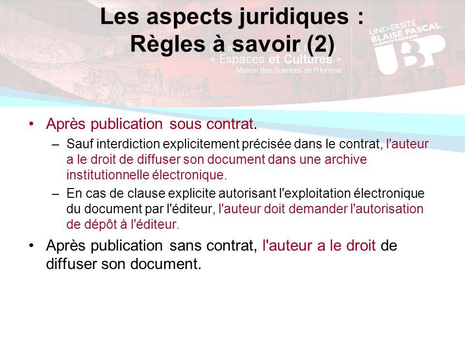 Les aspects juridiques : Règles à savoir (2) Après publication sous contrat.