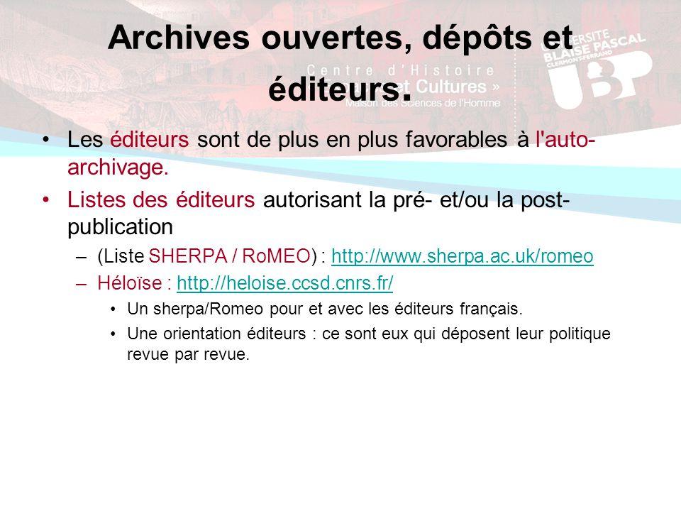 Archives ouvertes, dépôts et éditeurs.