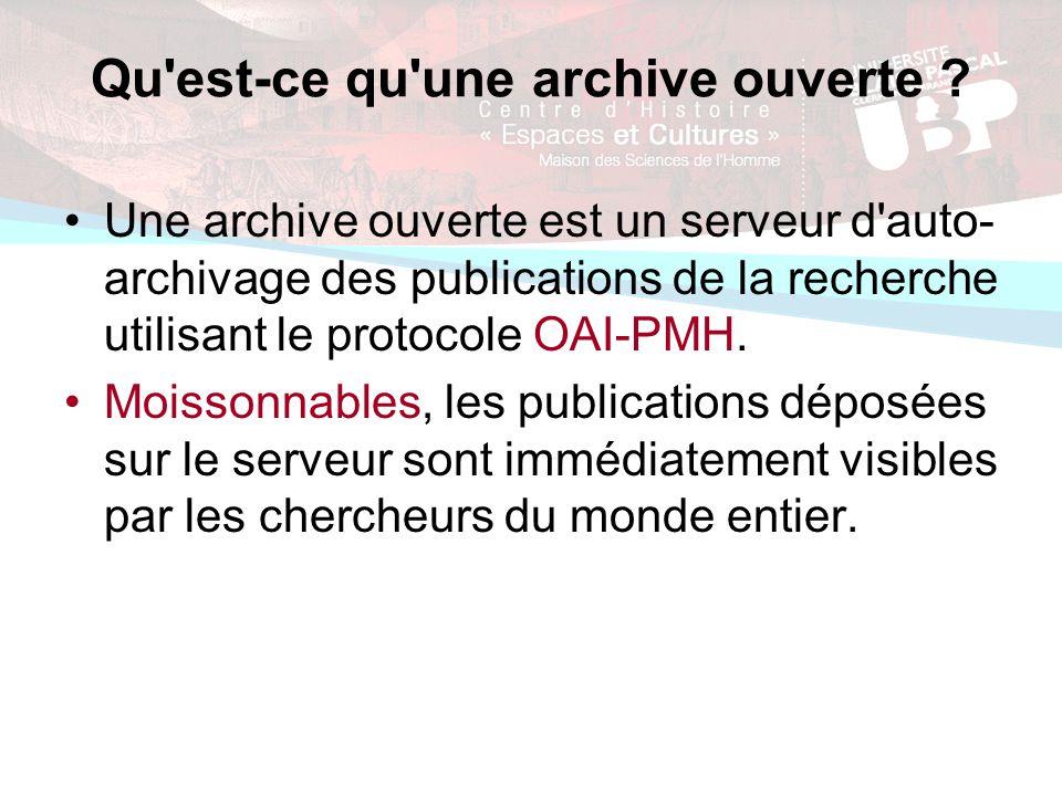 Qu est-ce qu une archive ouverte .
