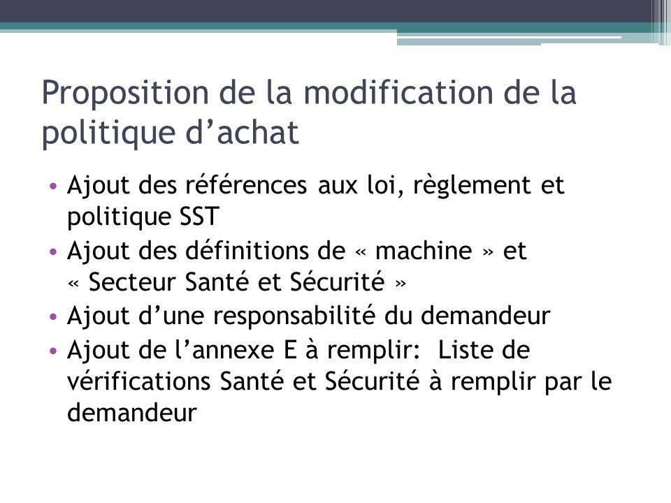 Proposition de la modification de la politique dachat Ajout des références aux loi, règlement et politique SST Ajout des définitions de « machine » et