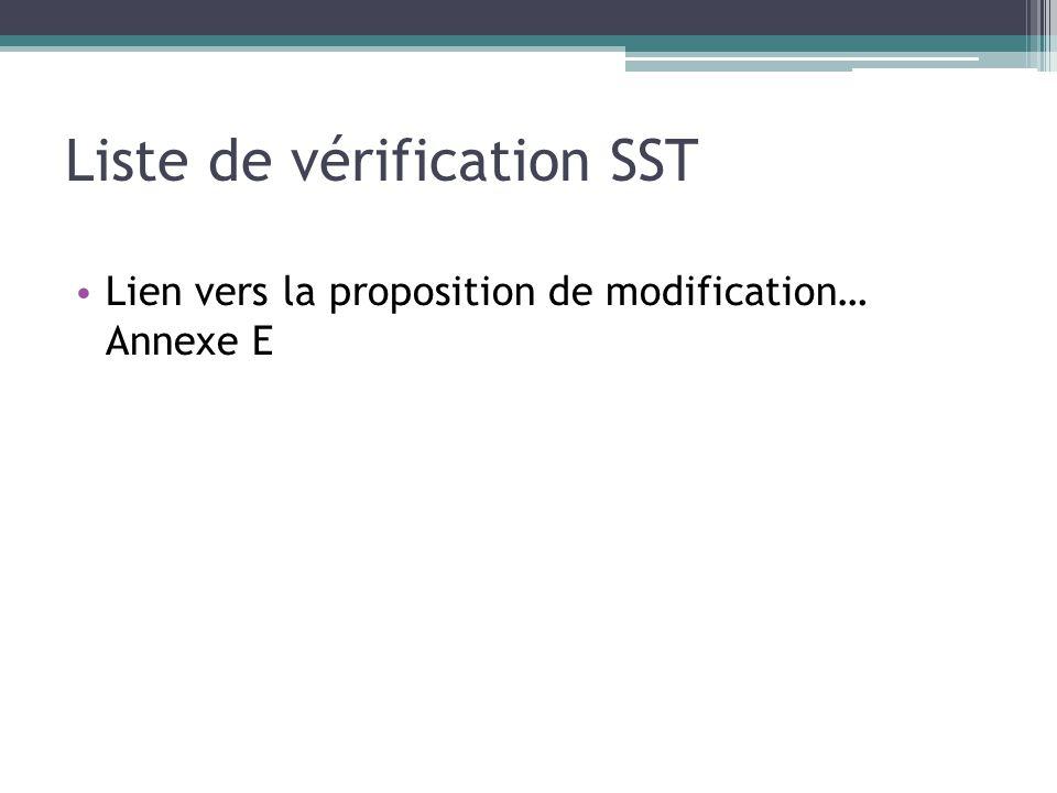 Liste de vérification SST Lien vers la proposition de modification… Annexe E