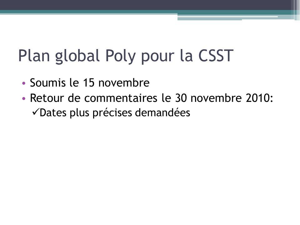 Plan global Poly pour la CSST Soumis le 15 novembre Retour de commentaires le 30 novembre 2010: Dates plus précises demandées