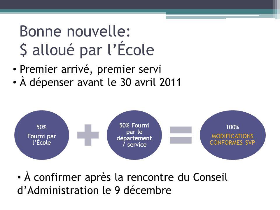Bonne nouvelle: $ alloué par lÉcole 50% Fourni par lÉcole 50% Fourni par le département / service 100% MODIFICATIONS CONFORMES SVP Premier arrivé, pre