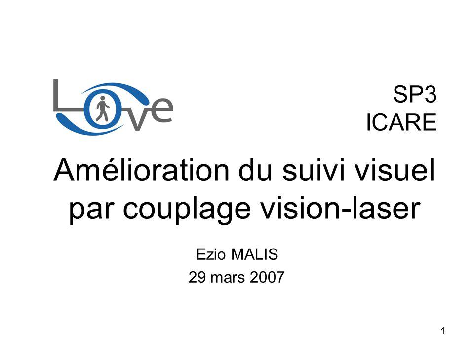 2 Objectif: –Utiliser des informations de profondeur pour –Améliorer le suivi visuel monoculaire Performance Robustesse Différence par rapport au SP2.2: –Suivi visuel sur SE(3) au lieu de SL(3) –Fonctionnement hybride en cas de défaillance du laser