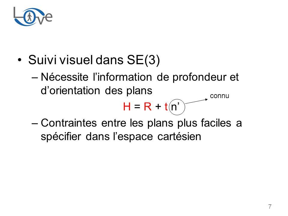 7 Suivi visuel dans SE(3) –Nécessite linformation de profondeur et dorientation des plans H = R + t n –Contraintes entre les plans plus faciles a spécifier dans lespace cartésien connu