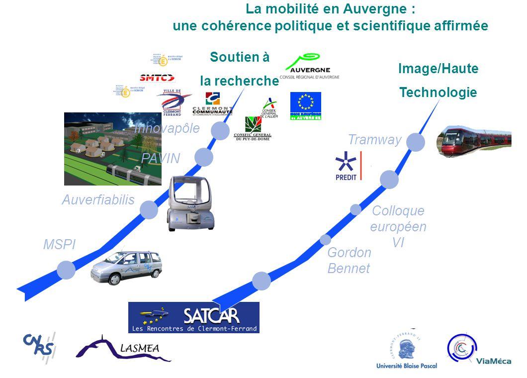 La mobilité en Auvergne : une cohérence politique et scientifique affirmée MSPI Auverfiabilis PAVIN Innovapôle Tramway Colloque européen VI Gordon Bennet Image/Haute Technologie Soutien à la recherche