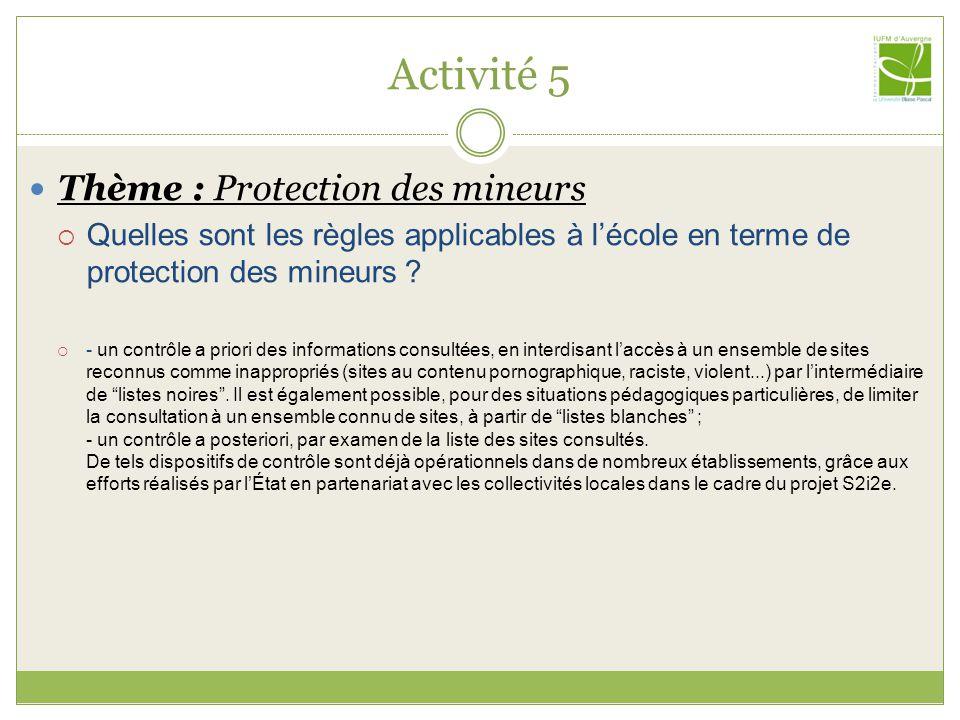 Activité 5 Thème : Protection des mineurs Quelles sont les règles applicables à lécole en terme de protection des mineurs .
