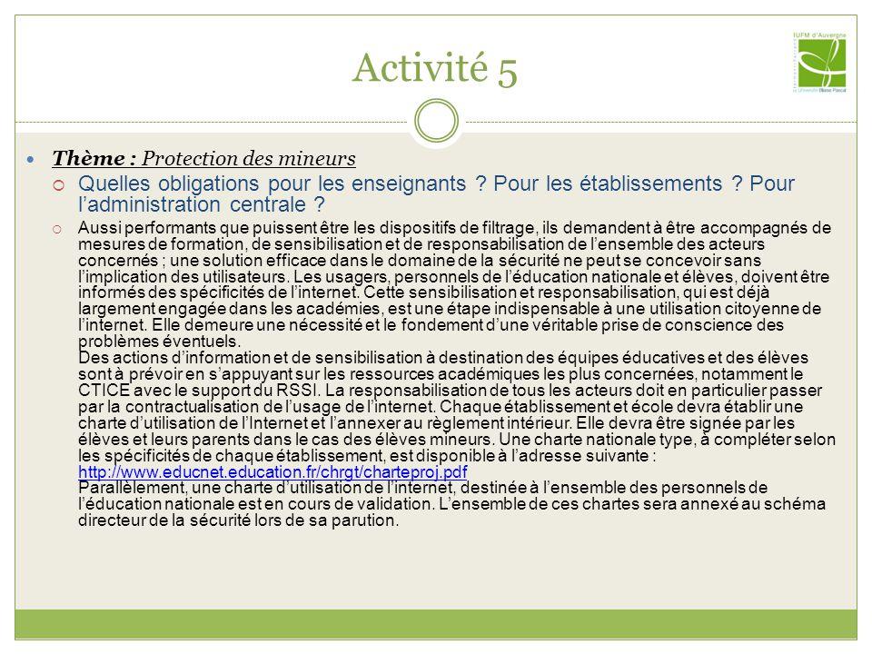 Activité 5 Thème : Protection des mineurs Quelles obligations pour les enseignants .