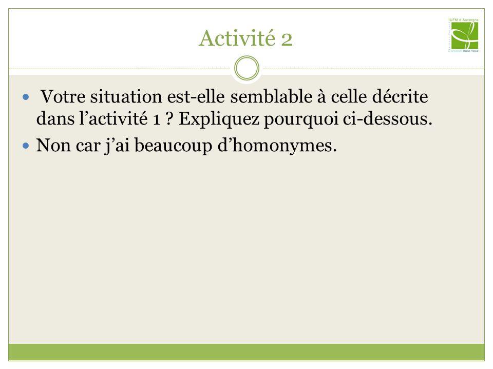 Activité 2 Votre situation est-elle semblable à celle décrite dans lactivité 1 .