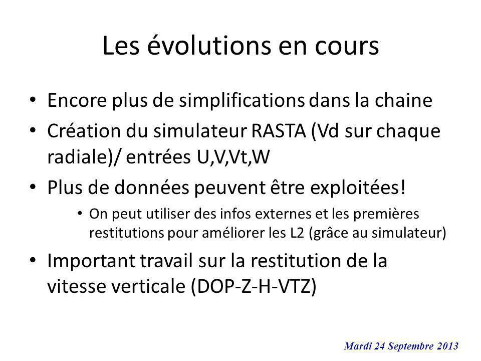 Les évolutions en cours Encore plus de simplifications dans la chaine Création du simulateur RASTA (Vd sur chaque radiale)/ entrées U,V,Vt,W Plus de d