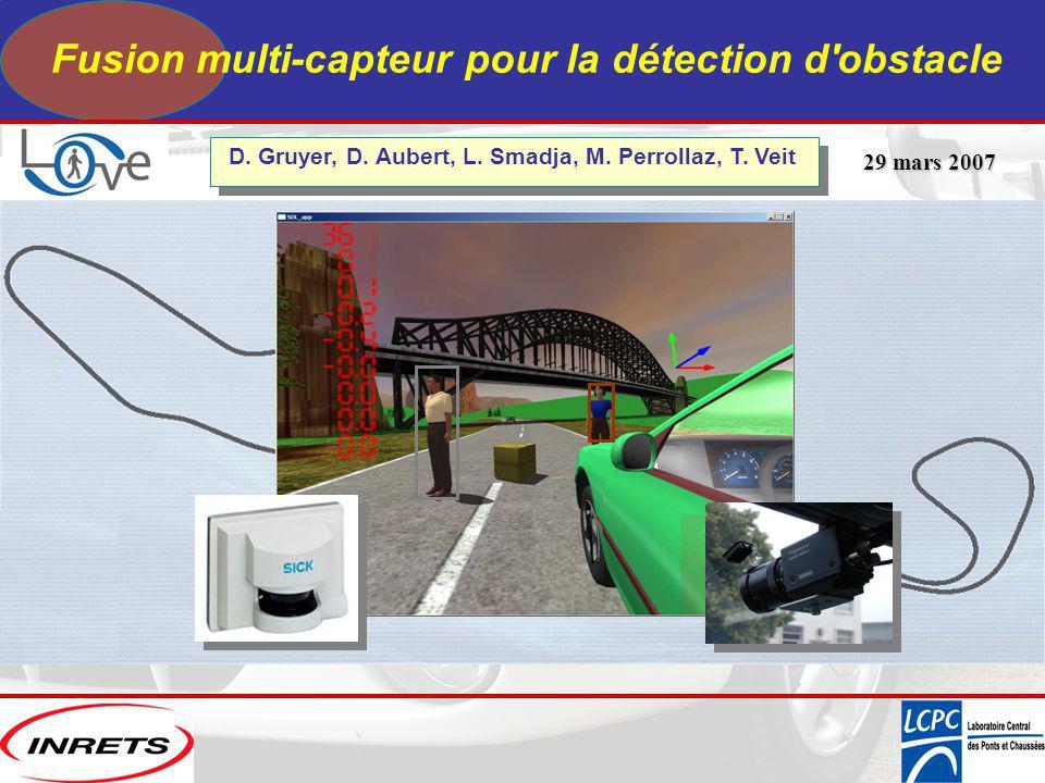Fusion multi-capteur pour la détection d'obstacle 29 mars 2007 29 mars 2007 D. Gruyer, D. Aubert, L. Smadja, M. Perrollaz, T. Veit