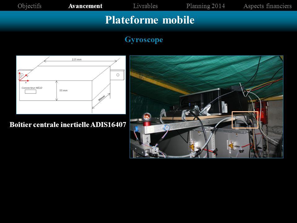 Boîtier centrale inertielle ADIS16407 ObjectifsAvancementLivrablesPlanning 2014Aspects financiers Plateforme mobile Gyroscope