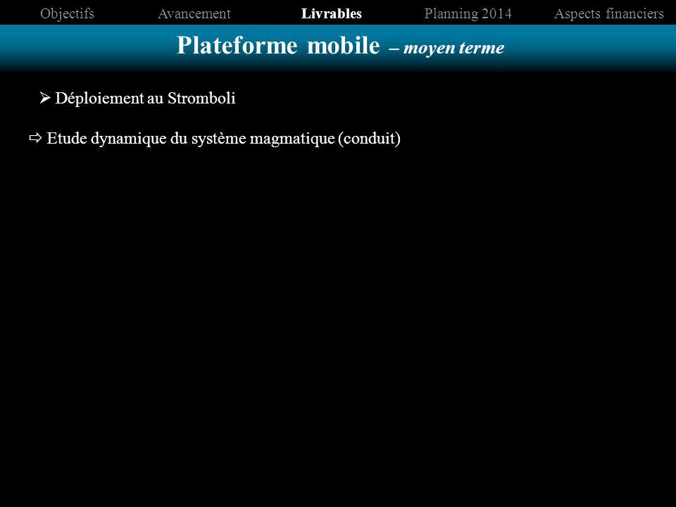 Plateforme mobile – moyen terme ObjectifsAvancementLivrablesPlanning 2014Aspects financiers Déploiement au Stromboli Etude dynamique du système magmatique (conduit)