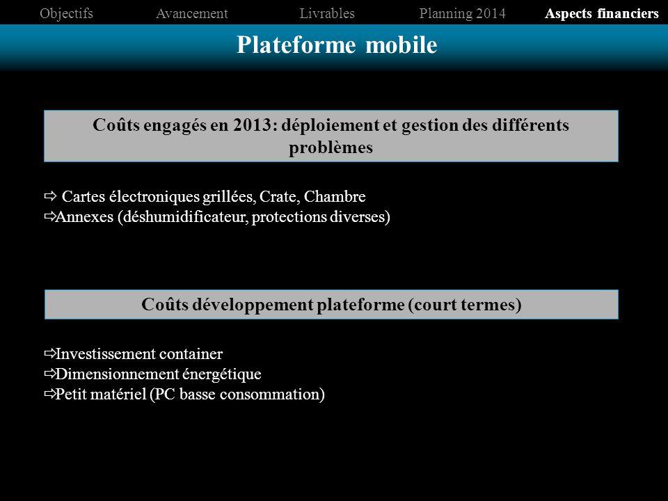 Coûts engagés en 2013: déploiement et gestion des différents problèmes Coûts développement plateforme (court termes) Plateforme mobile ObjectifsAvance