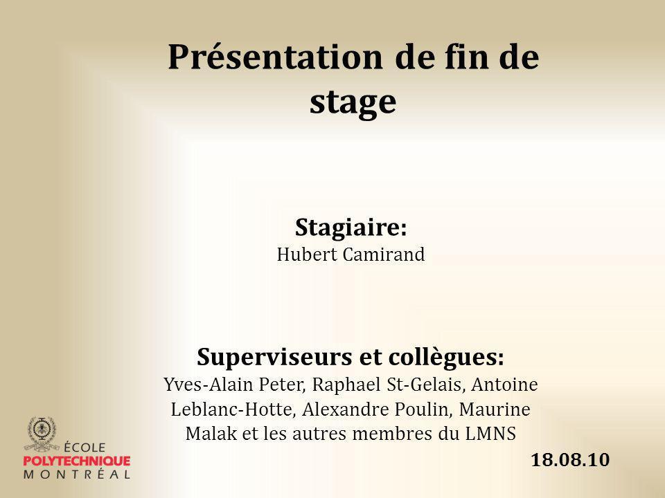 Présentation de fin de stage Stagiaire: Hubert Camirand Superviseurs et collègues: Yves-Alain Peter, Raphael St-Gelais, Antoine Leblanc-Hotte, Alexand