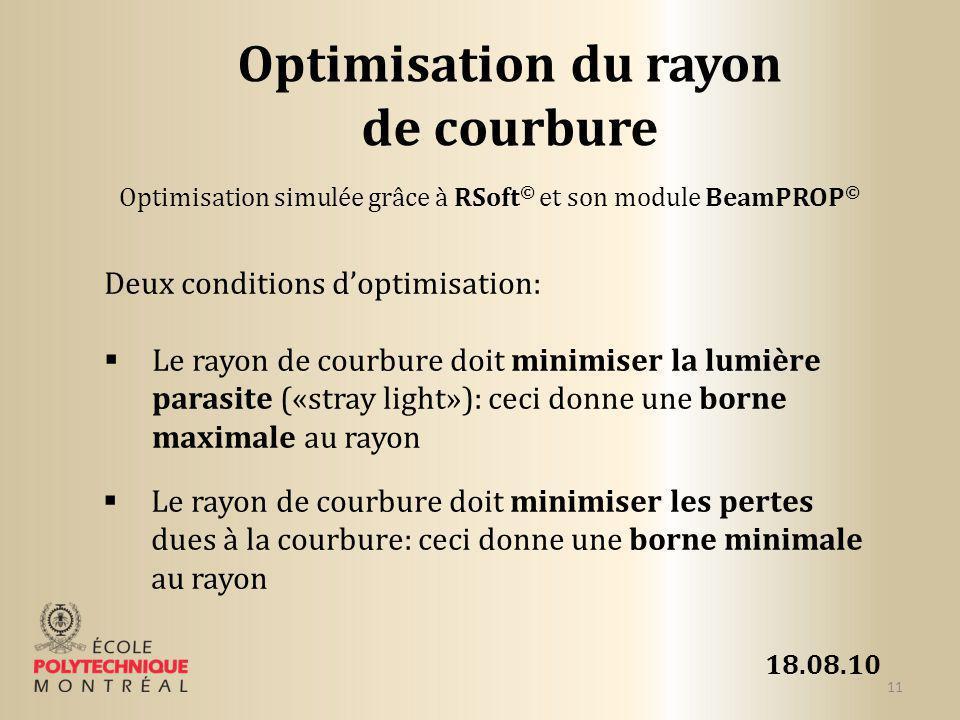 18.08.10 11 Optimisation du rayon de courbure Deux conditions doptimisation: Le rayon de courbure doit minimiser la lumière parasite («stray light»):