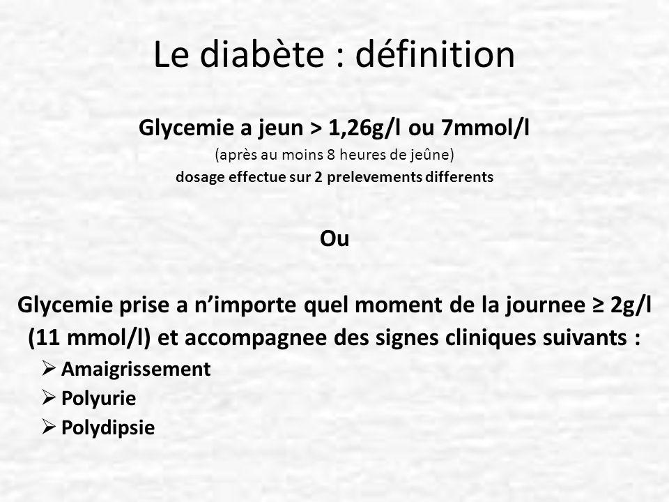 Le diabète : définition Glycemie a jeun > 1,26g/l ou 7mmol/l (après au moins 8 heures de jeûne) dosage effectue sur 2 prelevements differents Ou Glyce