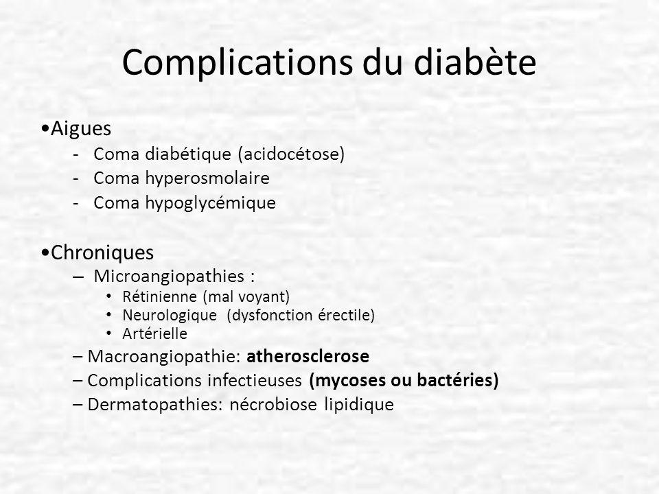 Complications du diabète Aigues -Coma diabétique (acidocétose) -Coma hyperosmolaire -Coma hypoglycémique Chroniques – Microangiopathies : Rétinienne (