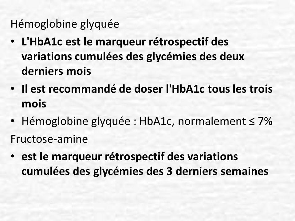 Hémoglobine glyquée L'HbA1c est le marqueur rétrospectif des variations cumulées des glycémies des deux derniers mois Il est recommandé de doser l'HbA
