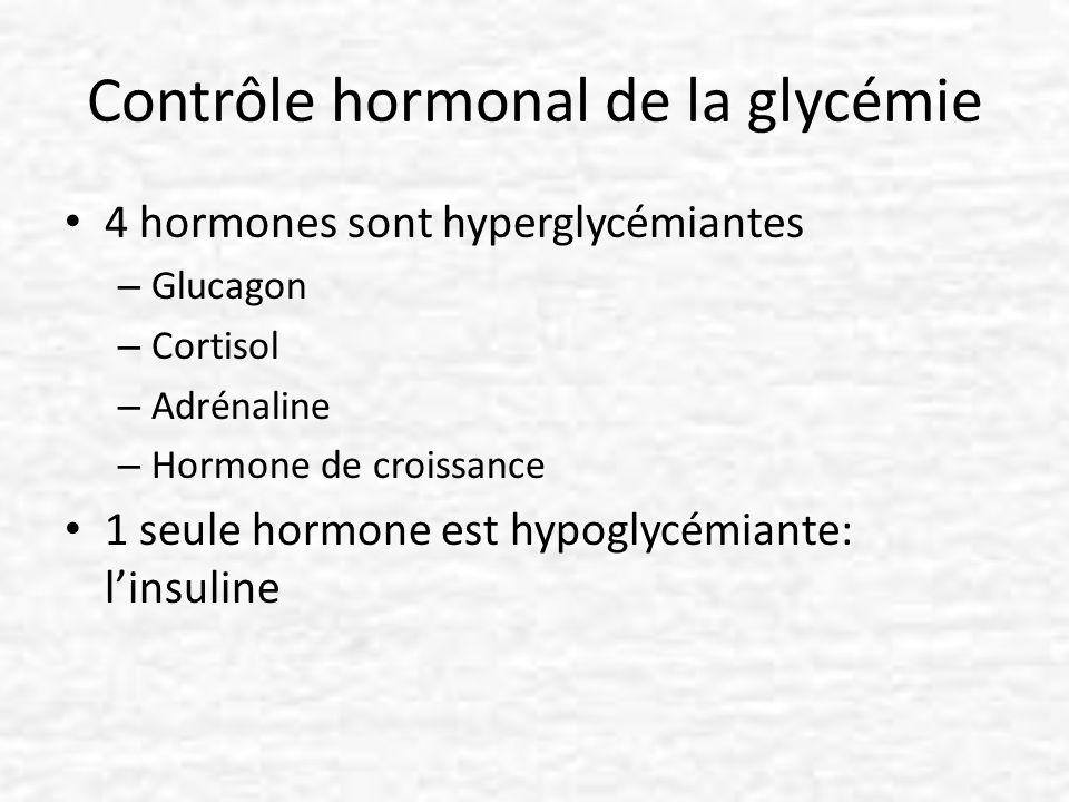 Contrôle hormonal de la glycémie 4 hormones sont hyperglycémiantes – Glucagon – Cortisol – Adrénaline – Hormone de croissance 1 seule hormone est hypo