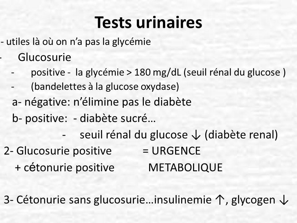 Tests urinaires - utiles là où on na pas la glycémie -Glucosurie -positive - la glycémie > 180 mg/dL (seuil rénal du glucose ) -(bandelettes à la gluc