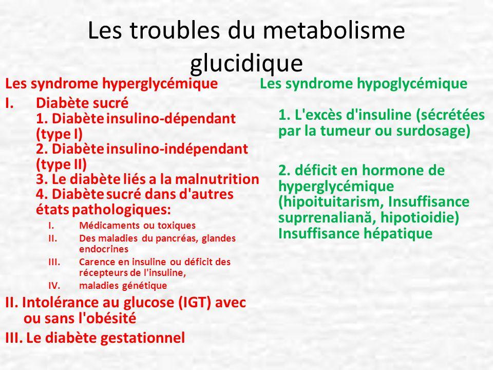 HYPOGLYCEMIE Glycémie inférieure à 60 mg/dl Les hypoglycémies ont plusieurs ordres de cause: – soit un excès d insuline : – Cause exogène fréquemment (injection d insuline ou prise de médicament stimulant la sécrétion d insuline) – Cause endogène, le plus souvent tumoral, par une tumeur du pancréas, l insulinome, une tumeur rare, – soit un défaut de production de glucose ou d activation de la production de corps cétoniques pendant le jeûne.
