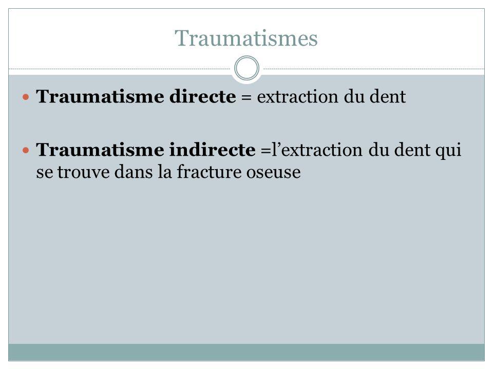 Traumatismes Traumatisme directe = extraction du dent Traumatisme indirecte =lextraction du dent qui se trouve dans la fracture oseuse