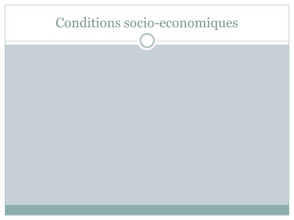 Conditions socio-economiques