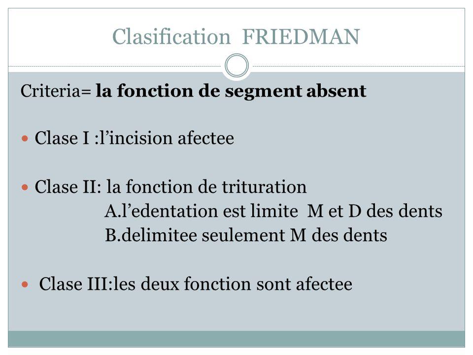 Clasification FRIEDMAN Criteria= la fonction de segment absent Clase I :lincision afectee Clase II: la fonction de trituration A.ledentation est limit