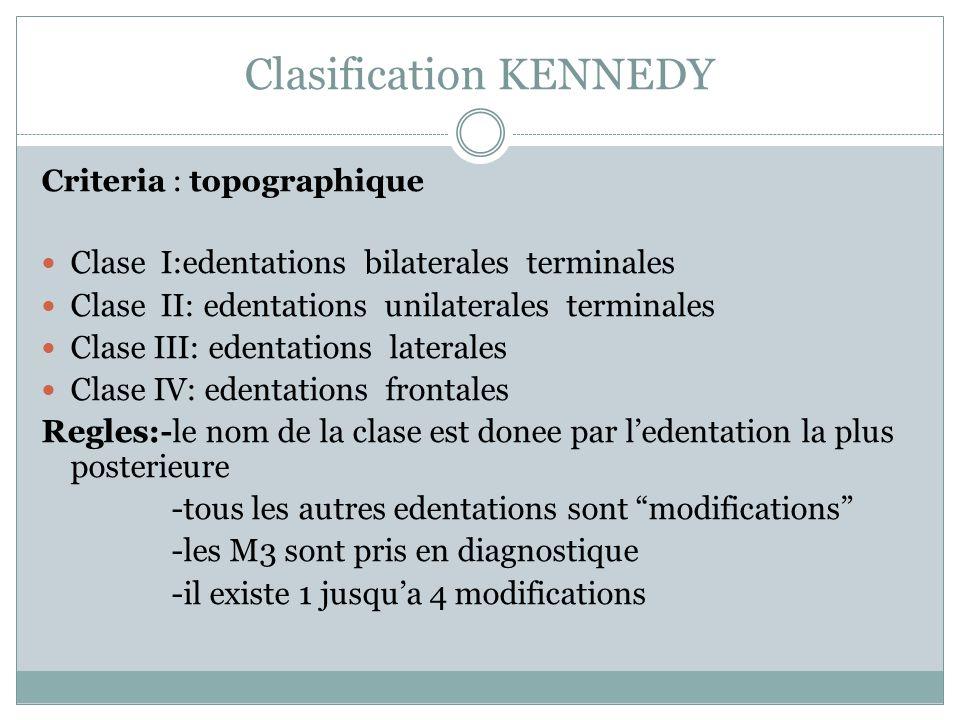 Clasification KENNEDY Criteria : topographique Clase I:edentations bilaterales terminales Clase II: edentations unilaterales terminales Clase III: ede