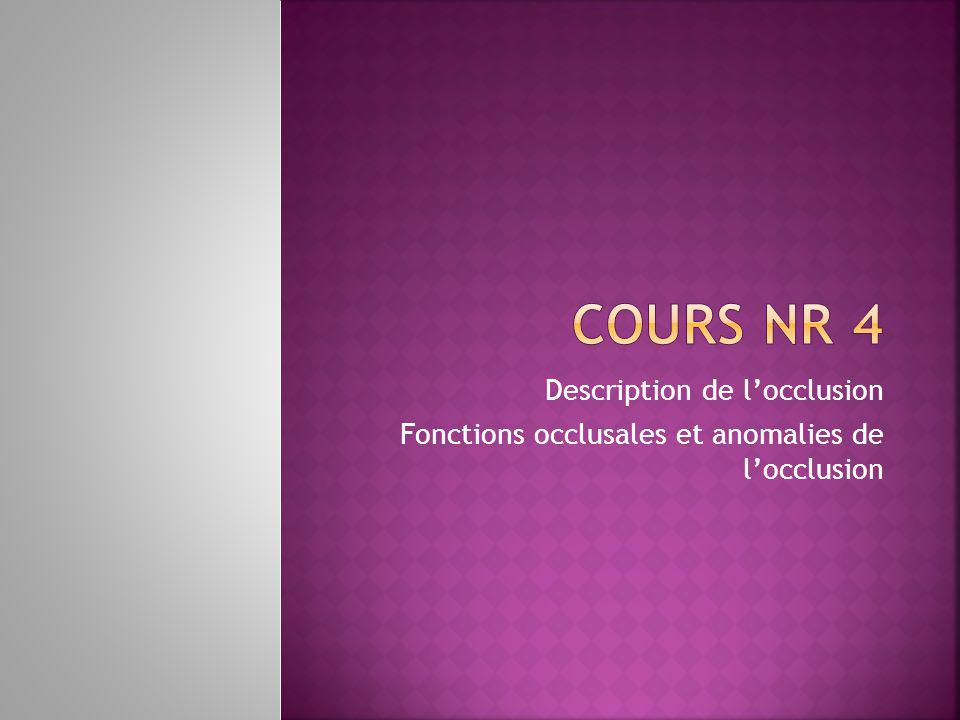 Description de locclusion Fonctions occlusales et anomalies de locclusion