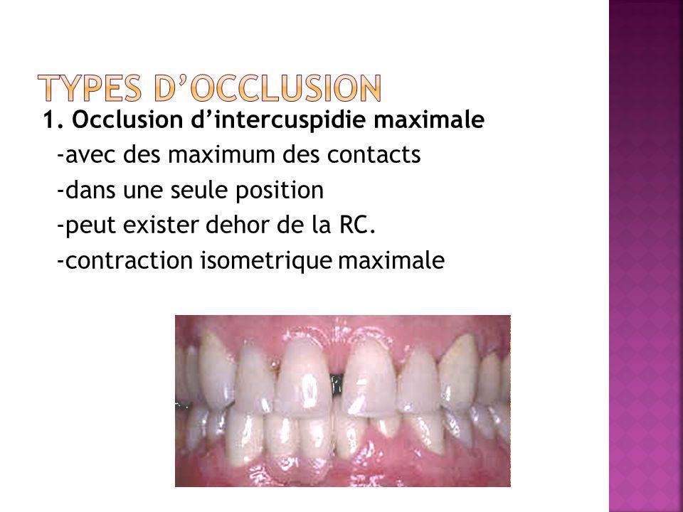 1. Occlusion dintercuspidie maximale -avec des maximum des contacts -dans une seule position -peut exister dehor de la RC. -contraction isometrique ma