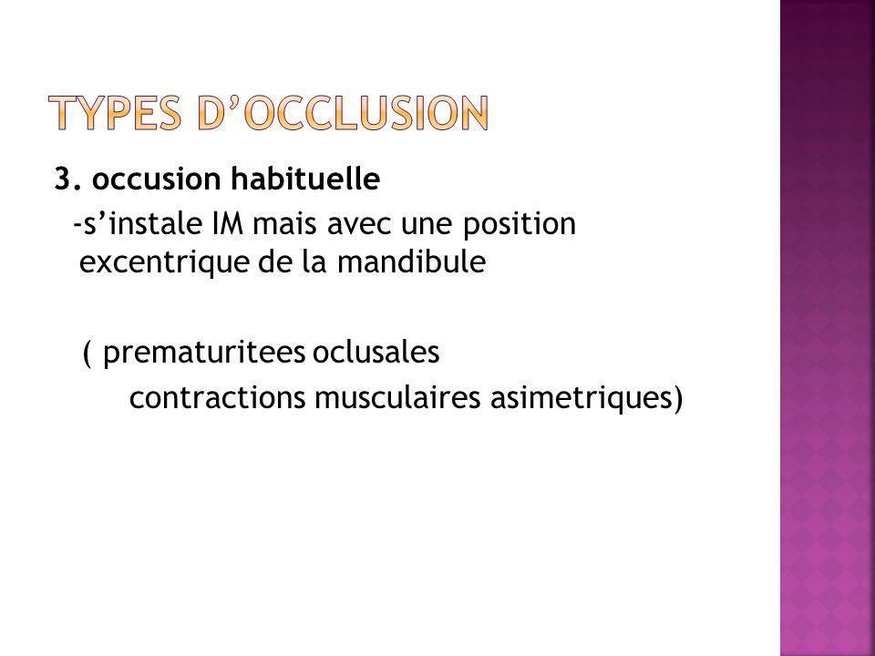 3. occusion habituelle -sinstale IM mais avec une position excentrique de la mandibule ( prematuritees oclusales contractions musculaires asimetriques