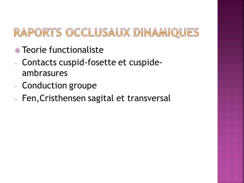 Teorie functionaliste - Contacts cuspid-fosette et cuspide- ambrasures - Conduction groupe - Fen,Cristhensen sagital et transversal