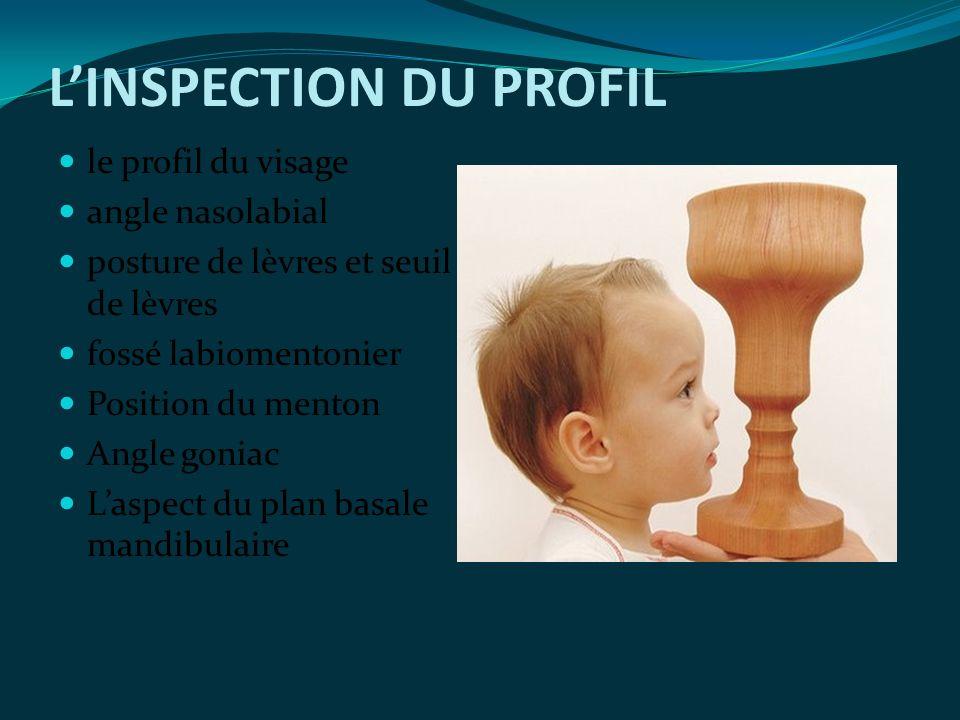 LINSPECTION DU PROFIL le profil du visage angle nasolabial posture de lèvres et seuil de lèvres fossé labiomentonier Position du menton Angle goniac L