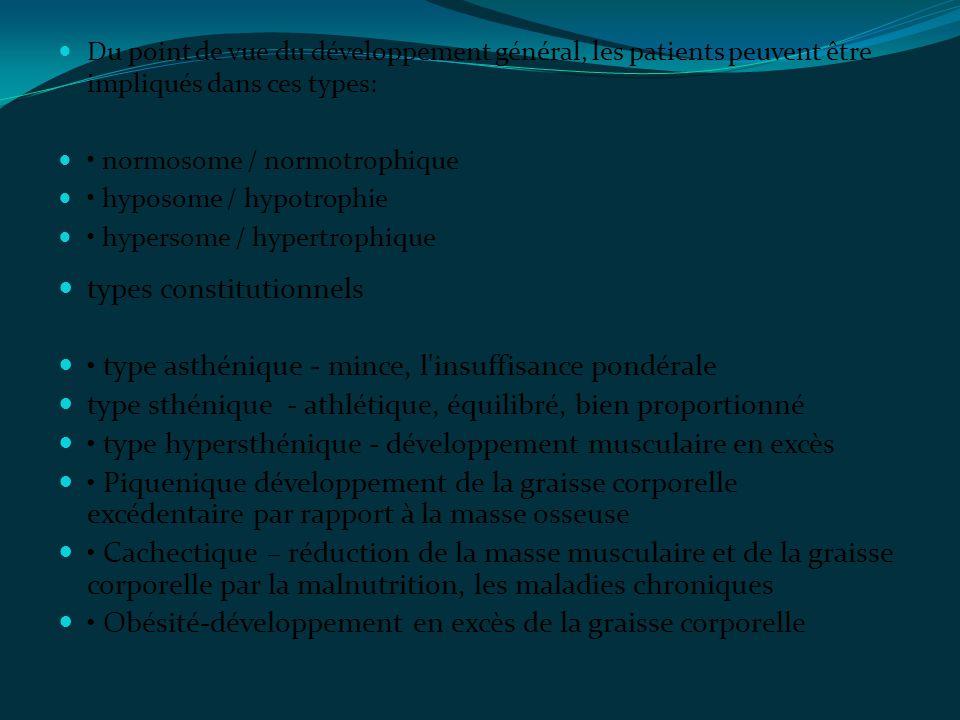 Du point de vue du développement général, les patients peuvent être impliqués dans ces types: normosome / normotrophique hyposome / hypotrophie hypers