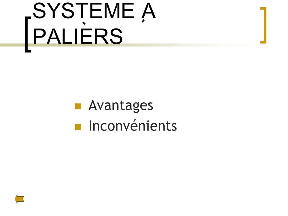 SYSTEME A PALIERS Avantages Inconvénients