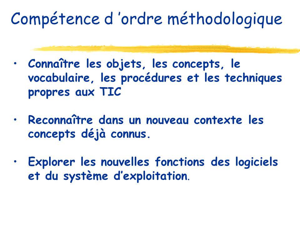 Connaître les objets, les concepts, le vocabulaire, les procédures et les techniques propres aux TIC Reconnaître dans un nouveau contexte les concepts