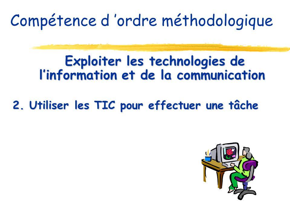 Exploiter les technologies de linformation et de la communication Exploiter les technologies de linformation et de la communication 2. Utiliser les TI